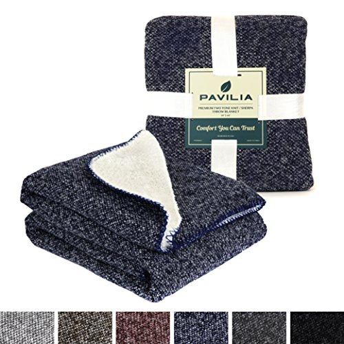 Premium Knit Sherpa Throw Blanket by Pavilia | Super Soft, Cozy, Lightweight Microfiber, Two Tone Knit, Reversible (50 x 60 inches, Navy) 2 Tone Blanket