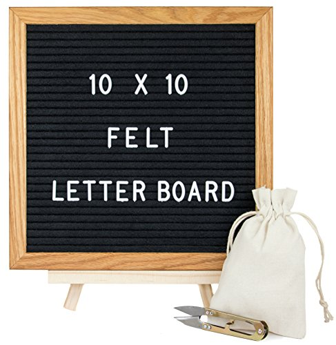 Letter Board 10'' X 10'' – Black Felt Letter Boards with 335 Changeable Letter & Emojis, Oak Wood Frame Message Board, Stand, Canvas Bag, Wall Mount, Scissors by Will Be With