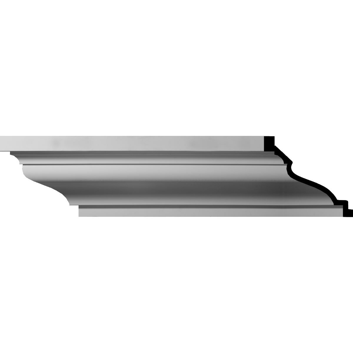 Ekena Millwork MLD10X12X16MI-CASE-12 10-5/8'' H x 12-5/8'' P x 16-1/8'' F x 96'' L Large Milton Smooth Crown Molding (12-Pack)