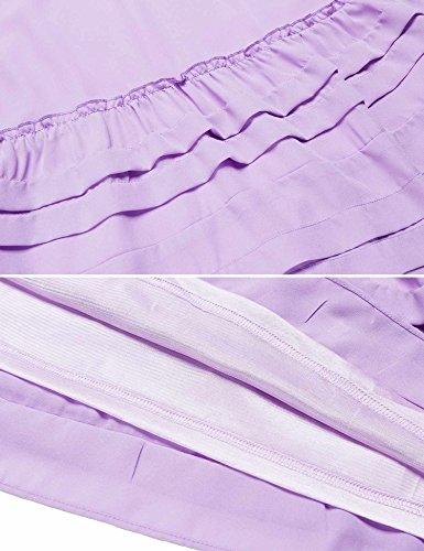 Renflements Femmes En Mousseline De Soie Garniture Robe Tunique En Dentelle À Manches Longues Robe De Changement Lâche Volant Violet