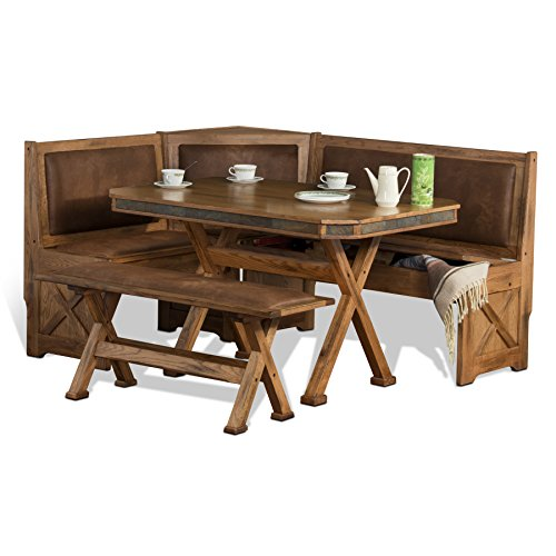 Sunny Designs 0222RO Sedona Breakfast Nook Set with Side Bench For Sale