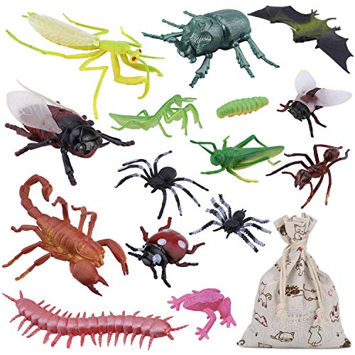 "15PCS Bug Toy Figures Giant Insects Playset for Kids - 3-6"" Fake Bugs - Spiders, Cockroaches, Scorpions, Crickets and Worms for Education and Christmas Party Favors with Drawstring Burlap Bag"