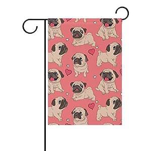 colourlife divertido de perros Rosa diseño estacional vacaciones bandera de poliéster banderines de patio jardín 12X 18pulgadas Decorativa para Casa Decoración de interior al aire libre