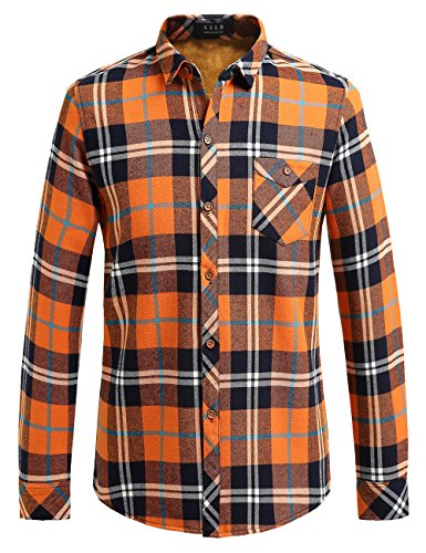 SSLR Men's Thermal Casual Long Sleeve Fleece Plaid Flannel Shirt Jacket (Small, Orange)