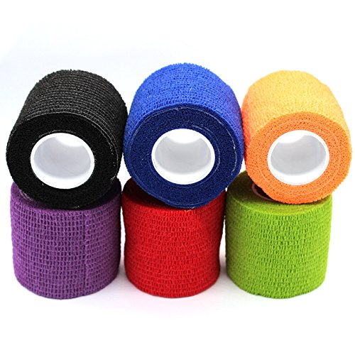 HoriKing Tattoo Supply Nonwovens Elastic Movement Tattoo Grip Cover Self-adhesive Mix Color 5pcs for Tattoo Machine Grip Accessories Supply