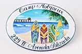 Beach House Sign, Hand Painted Home plaque, Custom Address Numbers - DipintoAdArte