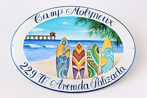 Beach House Sign, Hand Painted Home plaque, Custom Address Numbers - DipintoAdArte by DipintoAdArte Address plaques and Signs