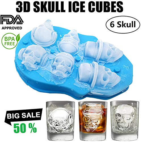 3D Skull Ice Cube Trays Flexible Silicone Ice Cube Molds for Whiskey Drinks Cooler Make 6 Giant Skull Ice Cube Mold with Plastic Funnels, Ice Cube Maker Ball Resistant Removable Lid Bar Party supplie ()