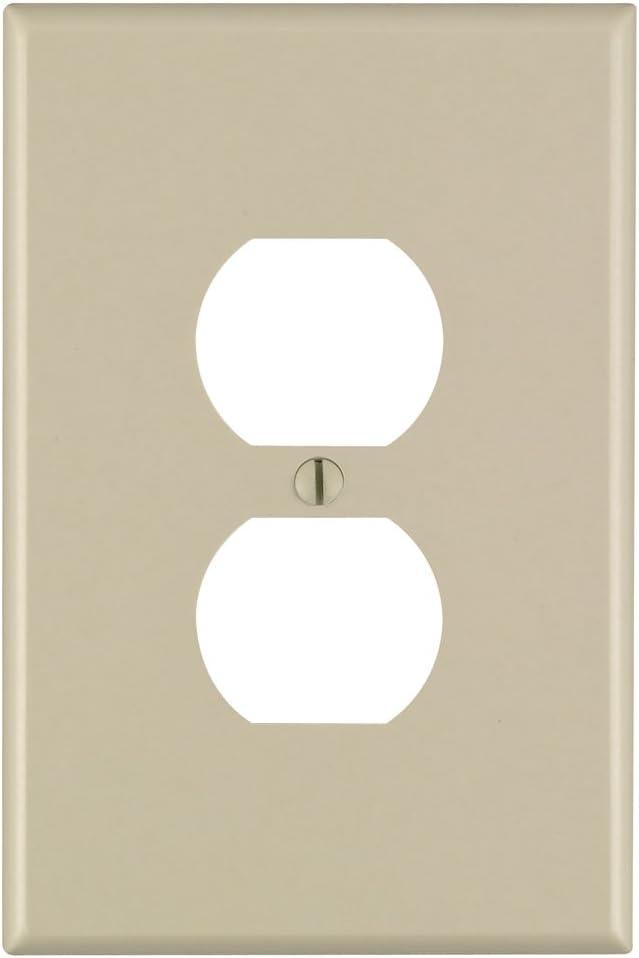 Leviton 86103 1-Gang Duplex Device Receptacle Wallplate, Oversized, Thermoset, Device Mount, Ivory