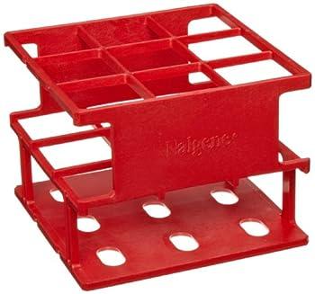 Nalgene 5972-0530 Acetal Plastic Unwire Test Tube Half Rack for 30mm Test Tubes, Red