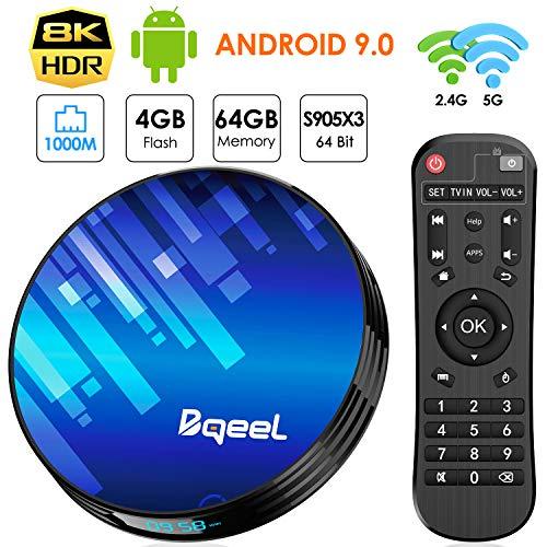 Android 9.0 TV Box 4GB RAM 64GB ROM, Bqeel TV Box Y8 Max S905X3 64-bit Quad Core with Dual Wi-Fi 2.4G/5.0G, BT 4.0/ 3D Ultra HD 8K/ H.265/ 1000M LAN/ USB 3.0 Smart TV Box