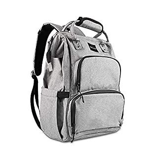 HAHASOLE Diaper Bag Backpack Multifunction Large Capacity Travel Back Pack with USB Charging Port and Multiple Pockets Waterproof and Stylish Baby Changing Bag (Grey)
