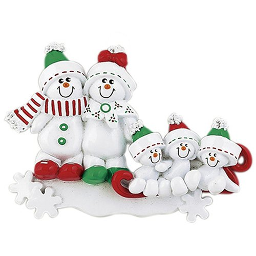 Personalized Snowman Sled Family of 5 Christmas Tree Ornament 2019 - Cute Child Green Winter Hat Red Bow Hug Snowflake Gift Kid Holiday Activity Tradition Gift Year - Free Customization (Five)