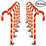 YUNLIGHTS Candy Cane Pathway Lights Christmas Pathway Marker- 27 Inches Tall, Set of 10