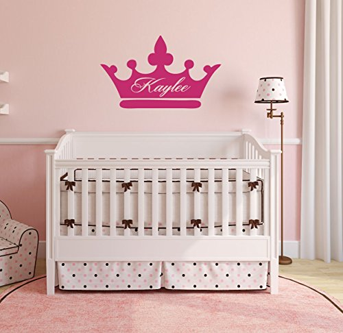 Personalized Wall Decals Girls Princess Crown With Custom Name Vinyl Home Decor - Bedroom, Nursery Decoration