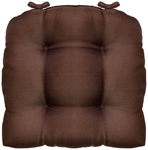 CHI Madison 16 x 16 in. Woven Cushioned Chair Pad with Ties, Chocolate
