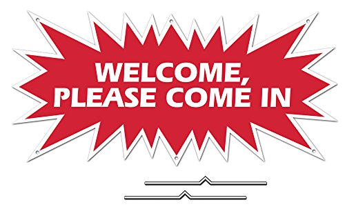 WELCOME PLEASE COME IN Starburst Sign Rider - Red Real Es...