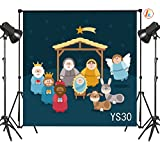 LB 10X10ft Nativity of Jesus in Manger Bethlehem Three Kings Meteor Angel Thin Vinyl Photography Backdrop Shepherd Witness Decorative Customized Photo Background Photo Shot Studio Prop YS30