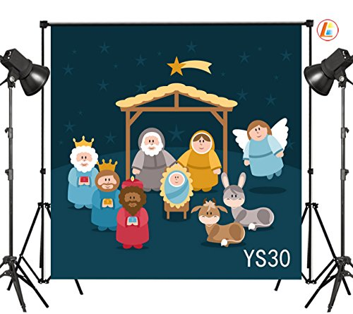 LB 10X10ft Nativity of Jesus in Manger Bethlehem Three Kings Meteor Angel Thin Vinyl Photography Backdrop Shepherd Witness Decorative Customized Photo Background Photo Shot Studio Prop YS30 by LB
