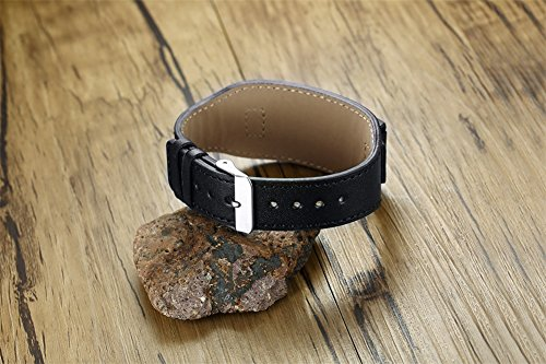 Personalized Men's Leather Bracelet Black Men's Bracelets with Stainless Steel Plate Custom Name Bracelet for Him by Mealguet Jewelry (Image #3)