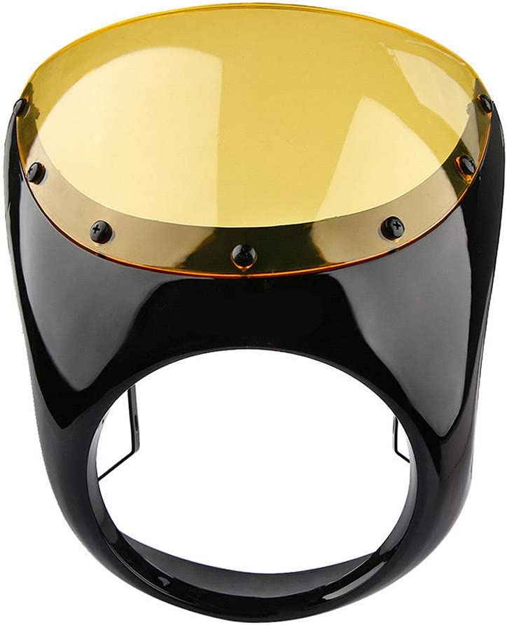 Du/šial Cafe Racer Handlebar Headlight Windshield 7 Inch Fairing Screen for Harley Motorcycle