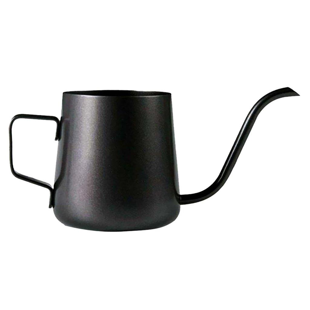 MonkeyJack Gooseneck Narrow Spout Hand Drip Coffee Pot Stainless Steel Kettle Black - Black, 240ml