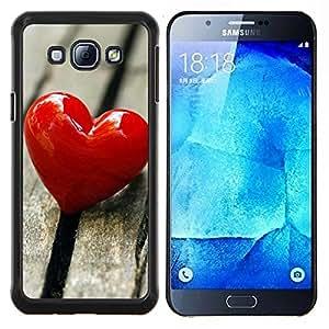 YiPhone /// Prima de resorte delgada de la cubierta del caso de Shell Armor - El amor del Corazón y Madera - Samsung Galaxy A8 A8000