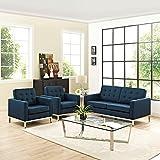 Modern Contemporary Urban Design Living Lounge Room Sofa Set ( Set of Three), Navy Blue, Fabric
