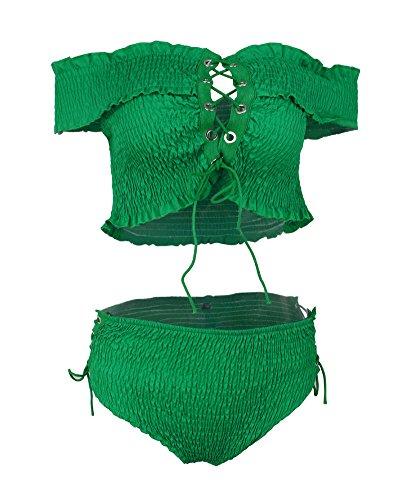 Tomwell Damen 2 Stück Bikini Sets Kreuzgurte Bademode Push up Strand ...