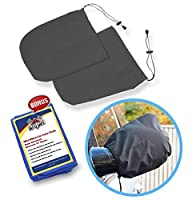 SnowOFF Car Side Mirror Snow Covers Set - Protect Auto Exterior Rear View Mirrors from Snow, Ice & Frost - BONUS Demist Cloth - Fit Cars CRVs SUVs Trucks- Like Windshield Cover
