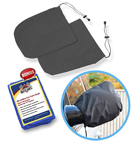 SnowOFF Car Side Mirror Snow Covers Set - Protect Auto Exterior Rear View Mirrors from Snow, Ice & Frost - BONUS Demist Cloth - Automotive Door Armor - Fit Cars, CRVs some SUVs - Like Windshield Cover