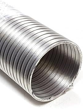 Canalizado Manguera, Tubo de aluminio Flex, aluminio flexible 120 mm de diámetro, 2 m, por ejemplo para aire acondicionado, Secadora, campana: Amazon.es: Hogar