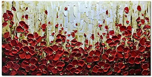 Metuu Modern Canvas Paintings Texture Palette Knife Red Flowers Paintings Home Decor Wall Art Colorful 3d Flowers Wall Decoration Abstract Painting