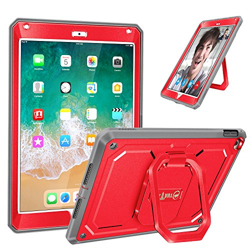 Fintie iPad 9.7 Inch 2018/2017 Case - [Tuatara Magic Ring] 360 Rotating Multi-Functional Grip Stand Shockproof Fully-Body Rugged Cover with Built-in Screen Protector, Also Fit iPad Air 2, Red (Best Ipad Case For Drop Protection)