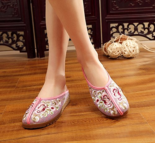 AvaCostume Womens Flower Embroidery Rubber Sole Flats Casual Slipper Shoes Pink Rev7hE