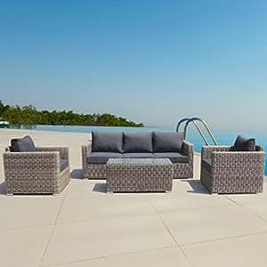 LuxuryGarden Conjunto muebles de Jardín en Poly Ratán Aluminio Marrón