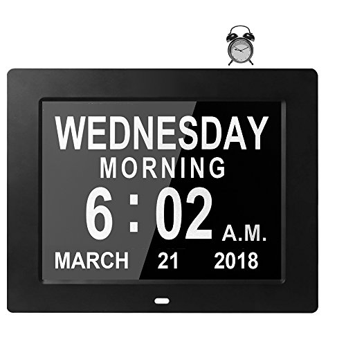 [8 Alarms] Large Day Date Clock Digital Calendar for Memory Loss Elderly Seniors Dementia Sufferers Alzheimers Vision Impaired Patients Kids Room (8'' Black)