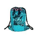 WANTASTE Glitter Sequin Backpack for Girls, Reversible Mermaid Drawstring Bag for Dance, Beach, Gym & Travel (Lake Blue & Pink) Review