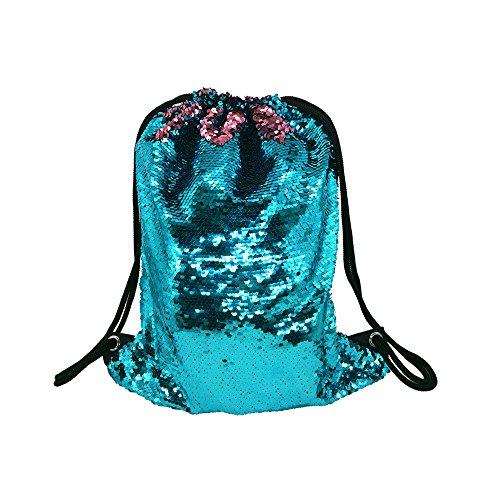 WANTASTE Glitter Sequin Backpack for Girls, Reversible Mermaid Drawstring Bag for Dance, Beach, Gym & Travel (Lake Blue & Pink)