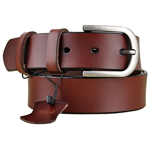 Vonsely Genuine Leather Belts for Dresses, Women Leather Fashion Belts for Pants, Wide Red Brown 105CM ()
