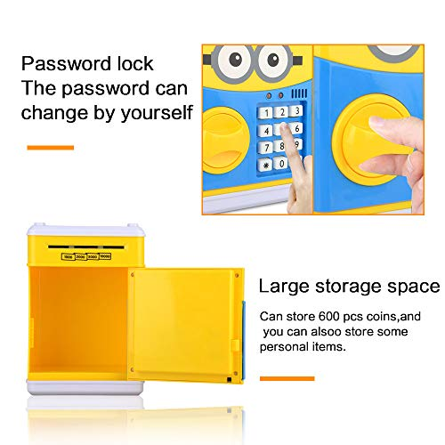 RICISUNG Trustworthy Cartoon Electronic Piggy Bank,ATM Password Piggy Bank Cash Coin Can Auto Scroll Paper Money for Children Gift Toy (Yellow) by RICISUNG (Image #4)