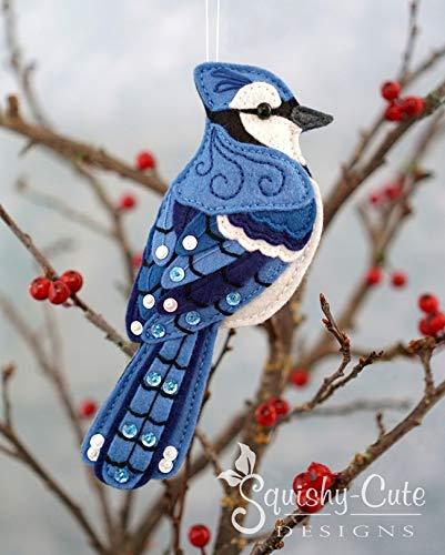 Blue Jay Sewing Pattern - Bird Ornament Felt Plushie Pattern & DIY Tutorial