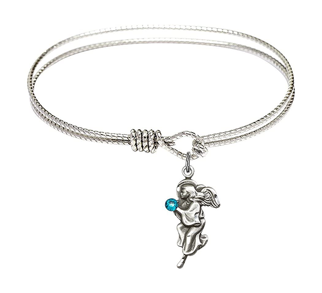 Rhodium Plate Textured Bangle Bracelet with Birth Month Guardian Angel Charm 6 1//4 Inch