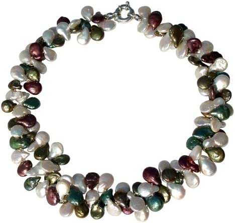 Exclusivo collar de dos vueltas con maravillosas perlas blancas,verdes y púrpuras cultivadas de agua dulce con broche en plata