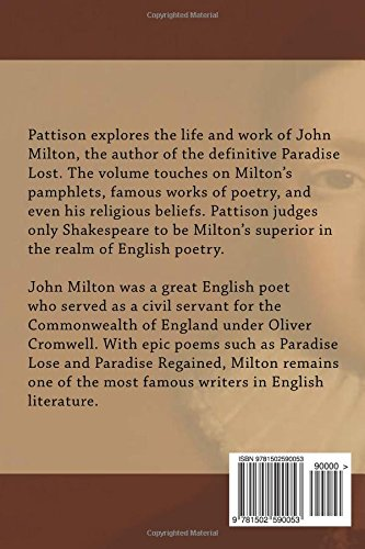 Amazon com: Milton (9781502590053): Mark Pattison: Books