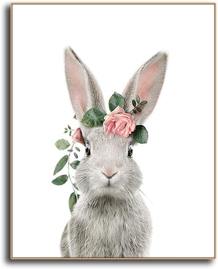 Bzdmly Pintura sobre Lienzo Animales Arte de la Pared Impresión del Cartel Cuadro Decorativo Guirnalda de Conejo para la habitación Dormitorio Decoración del hogar 30x40 cm / 11.8
