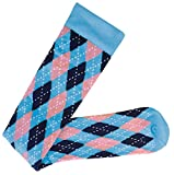 Prestige Medical  Premium Compression Socks, Argyle Blue and Pink, 12 Inch, 2 Count