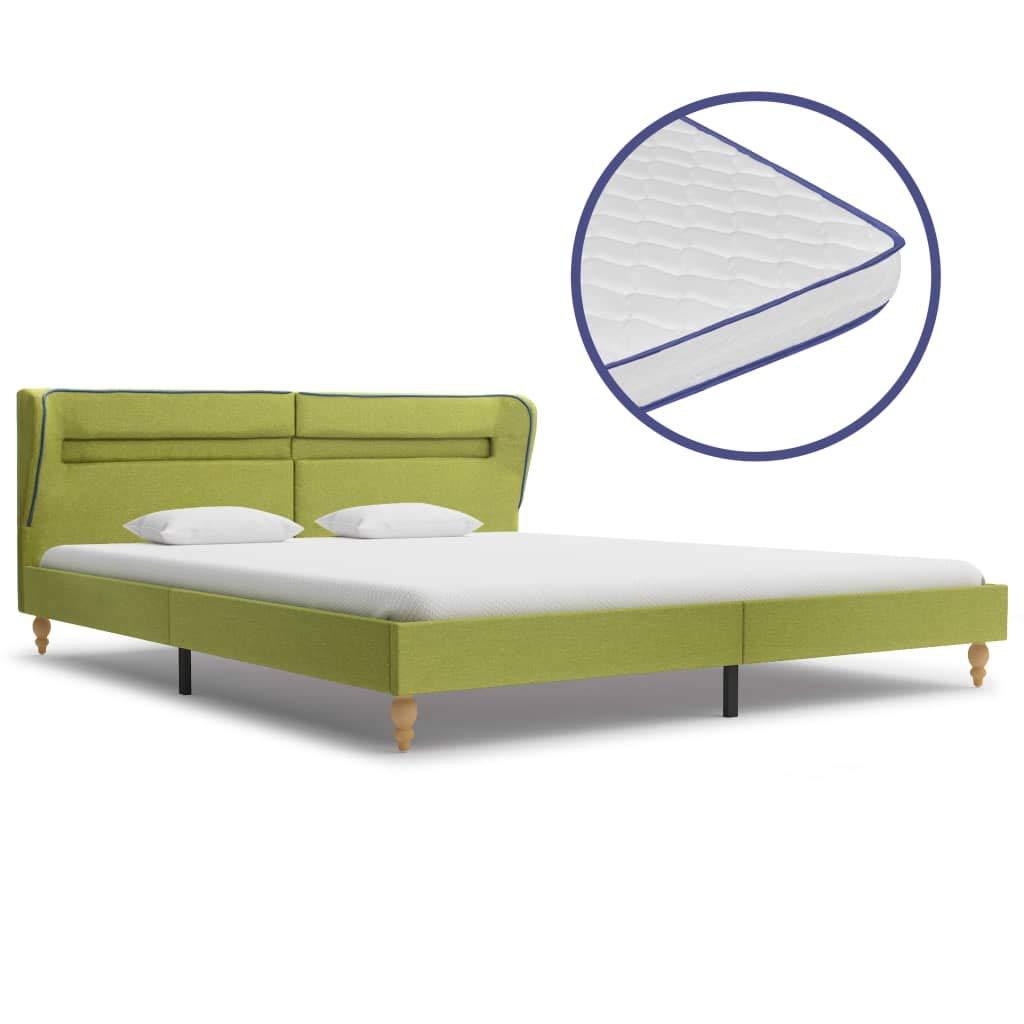 vidaXL Bett mit LED Memory-Schaum-Matratze Polsterbett Doppelbett Stoffbett Schlafzimmerbett Bettgestell Bettrahmen Lattenrost Grün Stoff 180x200cm