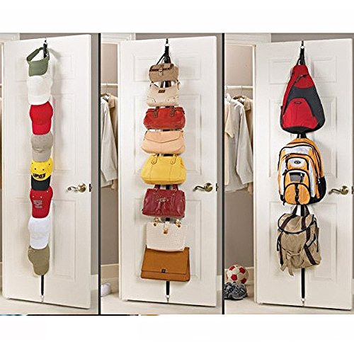 Tinksky Adjustable Door Back Hook Hanger Hat Bag Rack Holder Clothes Organizer (Random Color) - Behind Door Hat Rack