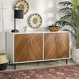 WE Furniture AZU58HPBMWHT TV Stand, 58″, White/Teak